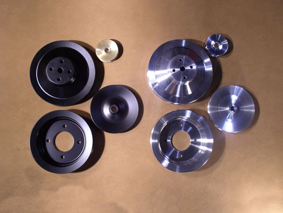 PSPS-69-70B-A and PSPS-69-70C-A  Billet Pulley Set - All 1969-70 V8s with Power Steering & A/C