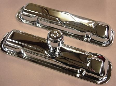 "VC-64E 1964 ""early"" STYLE PONTIAC VALVE COVERS WITH BREATHER"
