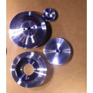 PSPS-69-70B, PSPS-69-70C, PSPS-69-70D BILLET PULLEY SET FOR 69-70 PONTIAC V8s WITH P/S, NO A/C